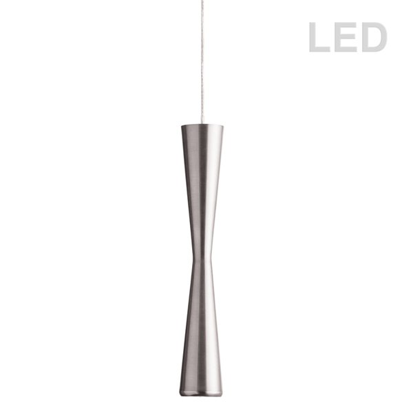 Dainolite Signature Pendant Light - 1-Light - 2-in x 12.25-in - Satin Chrome