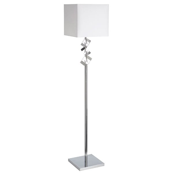Lampe sur pied Signature de Dainolite, 1 lumière, chrome poli