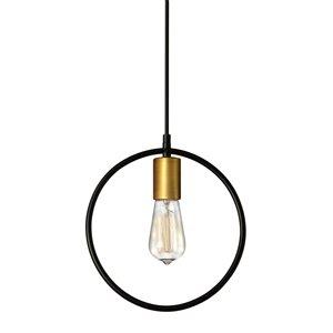 Dainolite Geometric Pendant Light - 1-Light - 12-in x 13-in - Gold/Black
