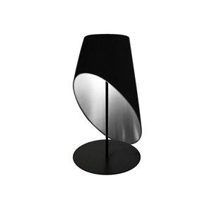 Lampe de table Slanted Drum de Dainolite, 1 lumière, 24 po, noir/argent