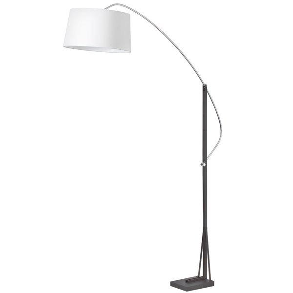 Dainolite Arc Floor Lamp - 1-Light - Polished Chrome/Matte Black