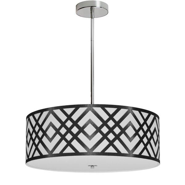 Dainolite Mona Pendant Light - 4-Light - 19-in x 7-in - Black/White