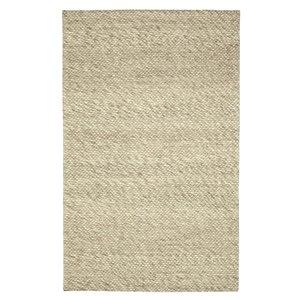 Tapis de laine moderne fait main Viana, 5 pi 3 po x 7 pi 6 po, ivoire