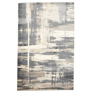 Tapis abstrait doux Viana, 5 pi 3 po x 7 pi 6 po, gris