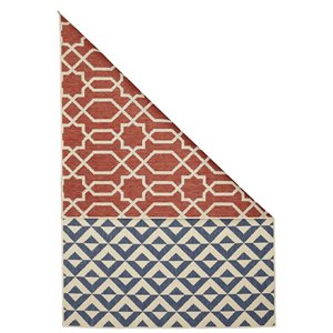 Tapis double face géométrique intérieur-extérieur Viana, 4 pi 6 po x 6 pi 5 po, multicolore
