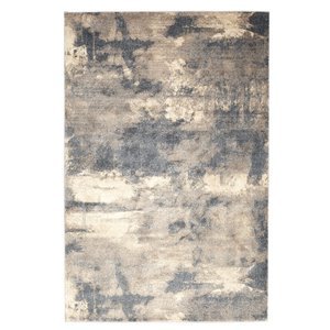 Tapis abstrait doux Viana, 8 pi 3 po x 10 pi, gris et marron pâle