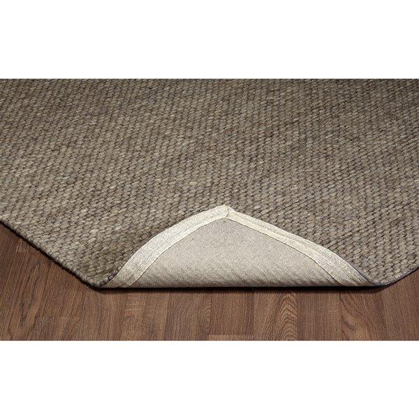 Tapis de laine moderne fait main Viana, 5 pi 3 po x 7 pi 6 po, gris chiné