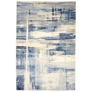 Tapis abstrait doux Viana, 5 pi 3 po x 7 pi 6 po, bleu gris pâle