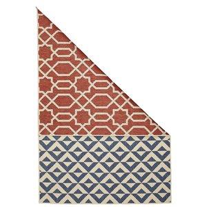 Tapis double face géométrique intérieur-extérieur Viana, 6 pi 5 po x 9 pi 3 po, multicolore