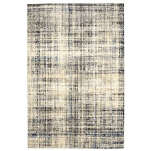 Tapis abstrait doux Viana, 5 pi 3 po x 7 pi 6 po, blanc bleuté