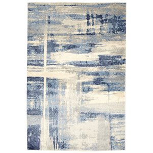 Viana Abstract Soft Rug - 8-ft 3-in x 10-ft  Light Grey B-lue