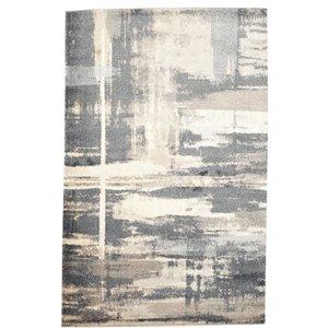 Tapis abstrait doux Viana, 8 pi 3 po x 10 pi, gris