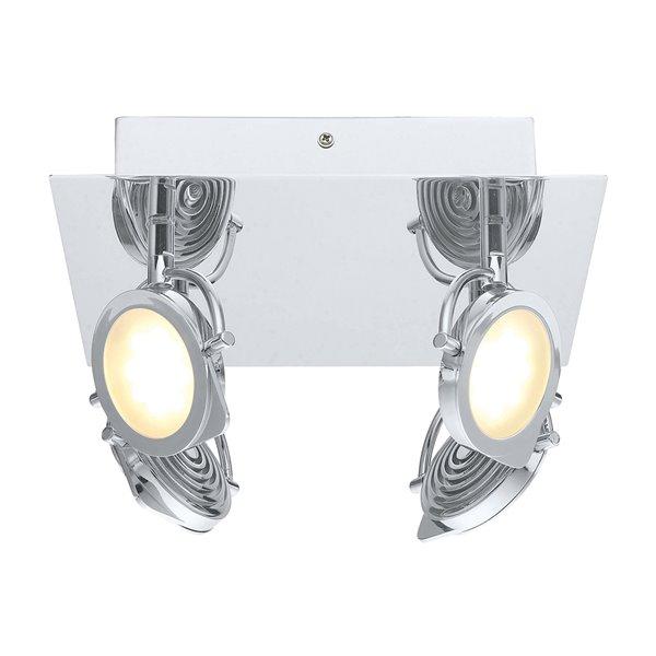 Plafonnier Orotelli de EGLO, 4 lumières DEL, fini chrome avec verre satiné