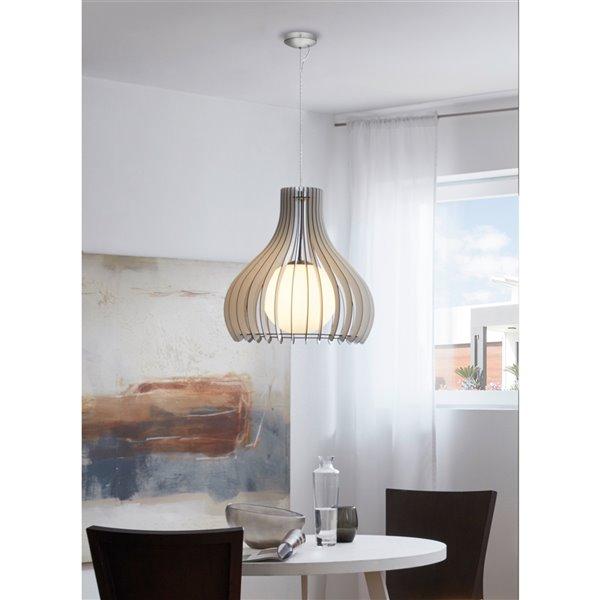 Luminaire suspendu Maybelle de EGLO Simple, fini nickel mat avec verre blanc et abat-jour blanc