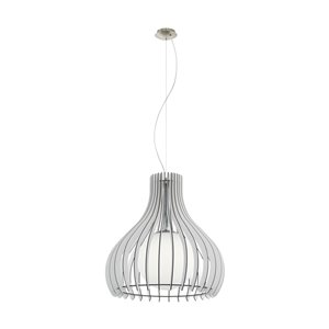 EGLO Maybelle Pendant Light -  Matte Nickel with White Glass and White Shade