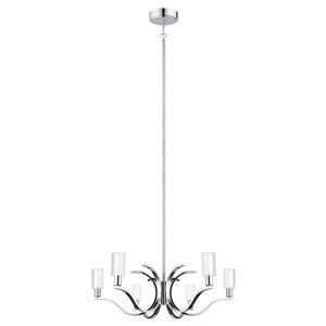 EGLO Varella LED Pendant Light 6L -  Chrome Finish with White & Clear Glass
