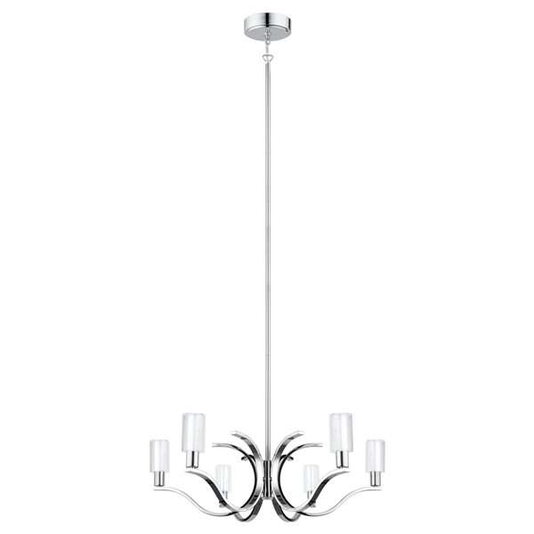 Luminaire suspendu Varella de EGLO DEL 6L, Fini chrome avec verre blanc et clair