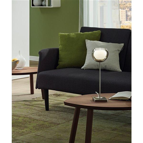 Lampe de table Ascolese de EGLO DEL, fini nickel mat avec verre blanc et ambré