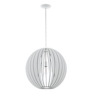 EGLO Maybelle Pendant Light -  White Finish with White Shade
