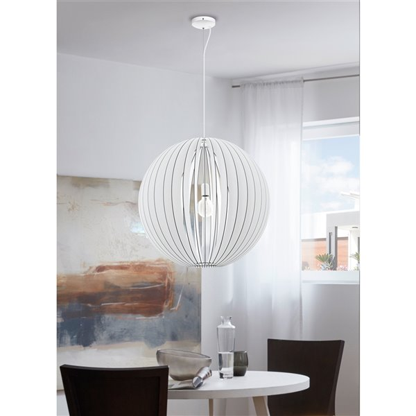 Luminaire suspendu Maybelle de EGLO Simple, fini blanc avec abat-jour blanc