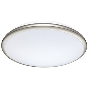 Plafonnier Manilva de EGLO avec lumière DEL, fini nickel mat avec abat-jour acrylique blanc