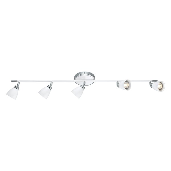 Luminaire sur Rail Ciotti de EGLO à 5 lumières, fini blanc et chrome, 38,88 po