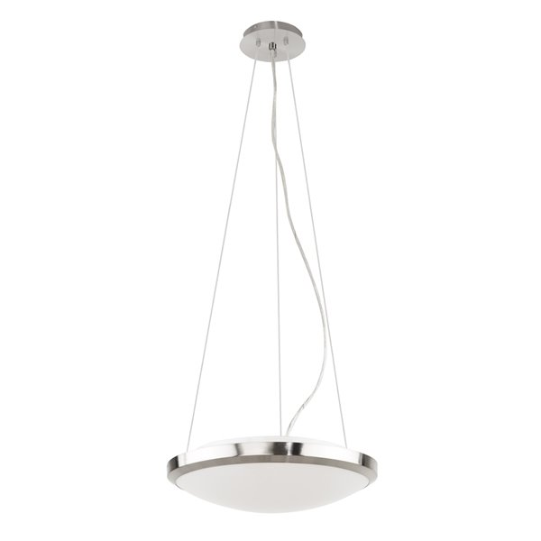Luminaire suspendu Saturnia de EGLO, fini nickel mat avec verre blanc