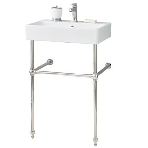 Nuo Console Sink - 17.38-in x 23.63-in - Fire Clay - White/Polished Nickel