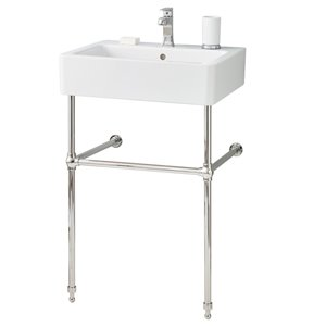 Nuovella Console Sink - 19.69-in x 23.63-in - Fire Clay - White/Polished Nickel