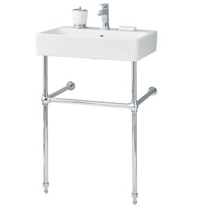 Nuo Console Sink - Square - 17.38-in x 23.63-in - Fire Clay - White/Chrome