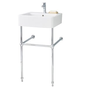 Nuovella Console Sink - 19.75-in x 10-in - Fire Clay - White/Chrome