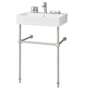 Nuo Console Sink - 17.38-in x 23.63-in - Fire Clay - White/Brushed Nickel
