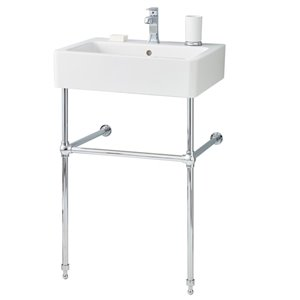 Nuovella Console Sink - 19.68-in x 23.65-in - Fire Clay - White/Chrome