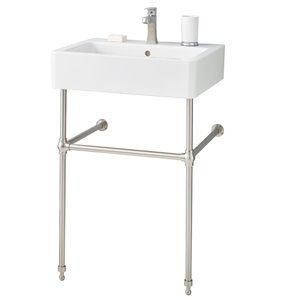 Nuovella Console Sink - 19.69-in x 23.63-in - Fire Clay - White/Brushed Nickel