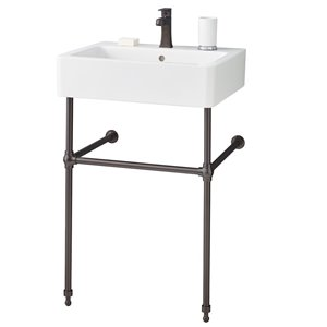 Nuovella Console Sink - 19.75-in x 19.75-in - Fire Clay - White/Antique Bronze
