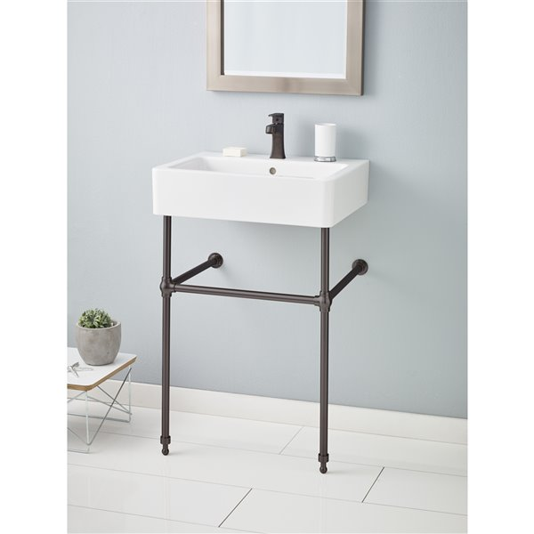 Nuovella Console Sink - 19.69-in x 23.63-in - Fire Clay - White/Antique Bronze