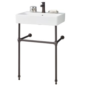 Nuo Console Sink - 17.38-in x 23.63-in - Fire Clay - White/Antique Bronze