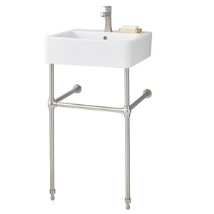 Nuovella Console Sink - 19.75-in x 19.75-in - Fire Clay - White/Brushed Nickel