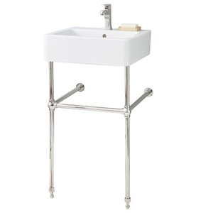 Nuovella Console Sink - 19.75-in x 19.75-in - Fire Clay - White/Chrome