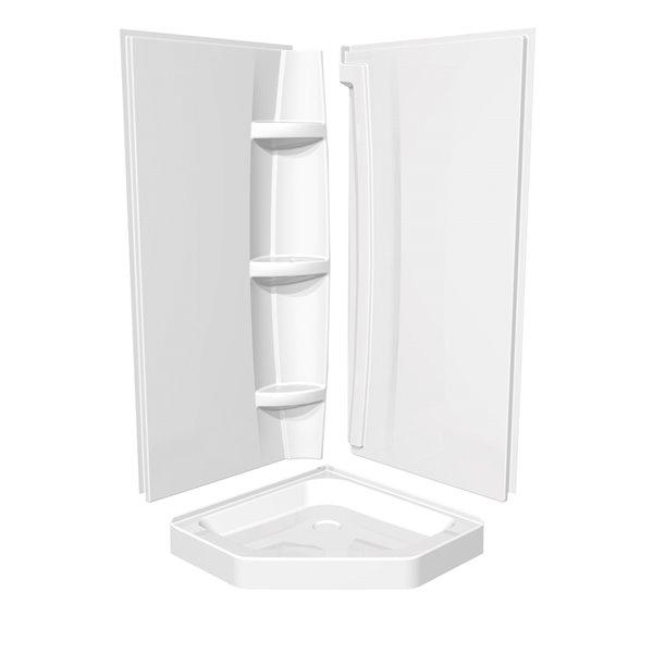 MAAX 2-Piece 38-in width Acrylic Shower Wall Set in White