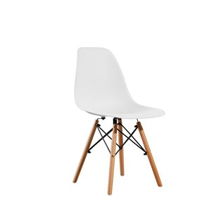 Soho Eiffel Dining Chair - White and Natural Wood - Set of 2