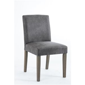 Soho Erikson Dining Chair - Faux-Leather Grey Graphite - Set of 2