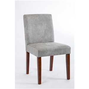 Soho Erikson Dining Chair - Cotton Grey Leatherette and Walnut - Set of 2