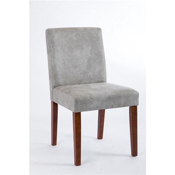 Chaise de salle à manger Erikson Soho, similicuir gris et noyer, ens. de 2