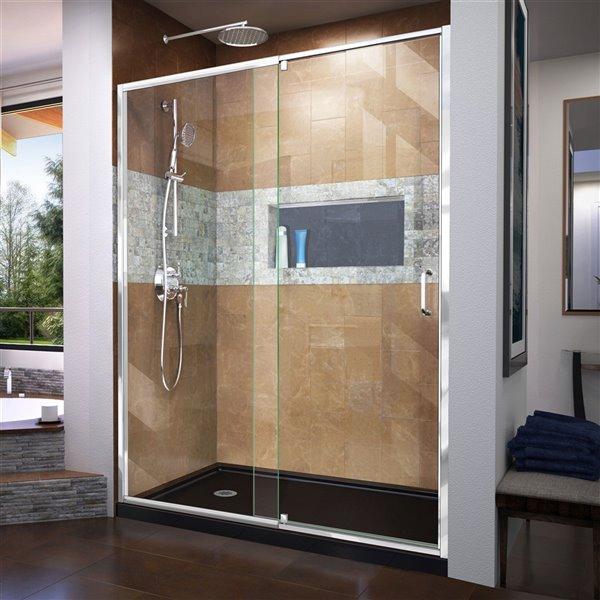 DreamLine Flex Shower Door/SlimLine Base - 30-inx 60-in - Chrome