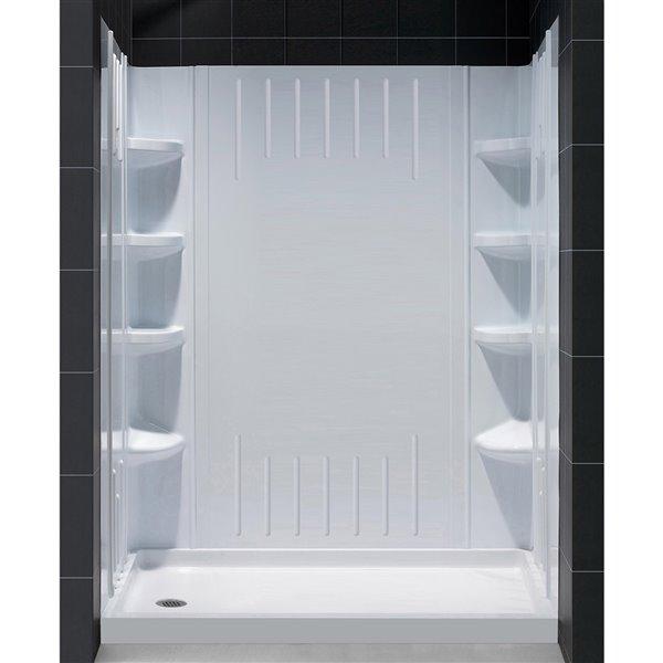 Ens. de base de baignoire/douche et panneaux de DreamLine QWALL-3, 60 po, blanc