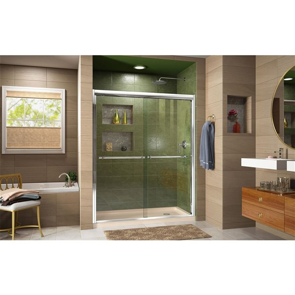 Porte douche et base de DreamLine Duet, 36 po x 60 po, chrome