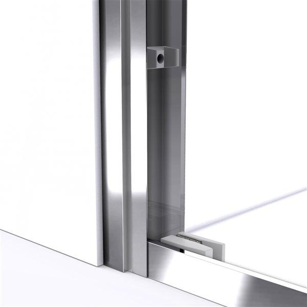Porte douche/base acrylique de DreamLine Duet, 34 pox 60 po, nickel