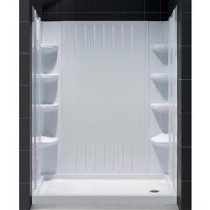 DreamLine QWALL-3 Shower Base and Backwalls Kit - 60-in- White