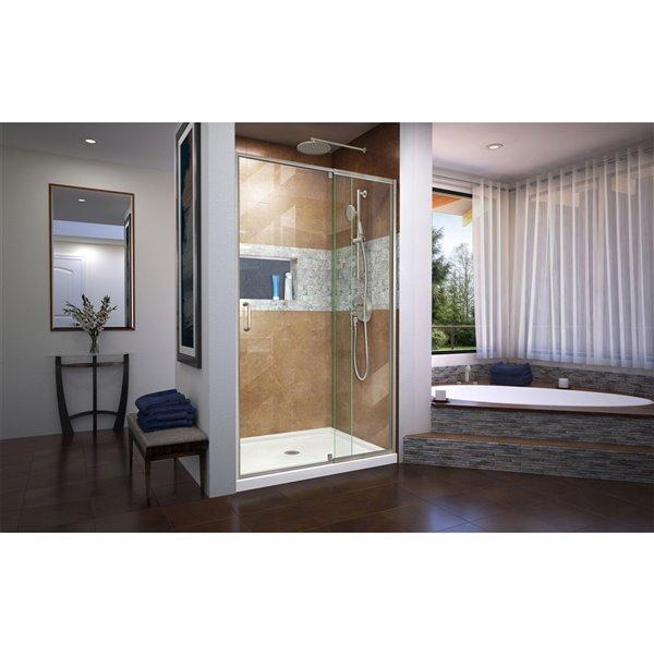 Porte douche/baignoire et base pivotante de DreamLine, 36 po x 48 po, nickel